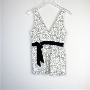 White House Black Market Ivory and Lace Top